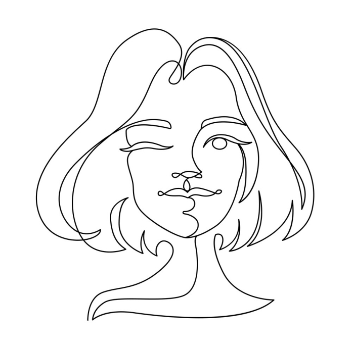 happy-woman-winks-one-line-art-portrait-vector-3